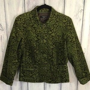 Talbots Paisley Corduroy Lined Jacket Green Brown